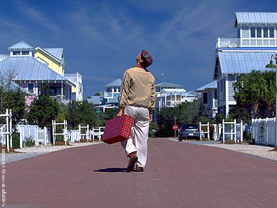 Movie Still: Jim Carey in The Truman Show, filmed at Seaside, Florida.