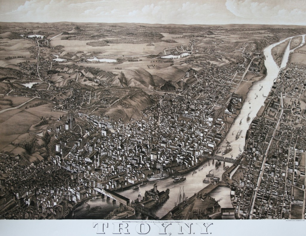 Troy, New York 1881. Bird's-eye-view panoramic map by Beck & Paul.